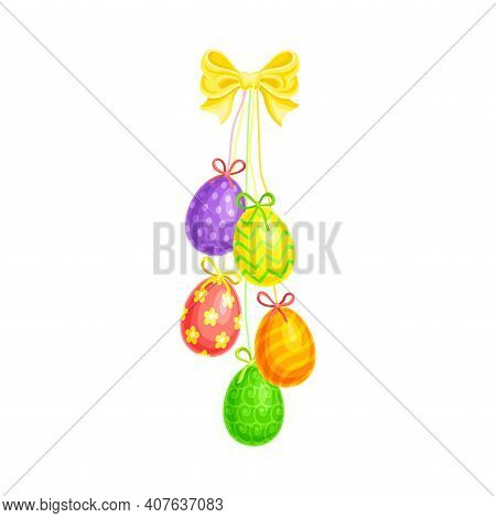 Painted Or Foiled Easter Eggs Or Paschal Eggs Hanging On String With Bow Vector Illustration