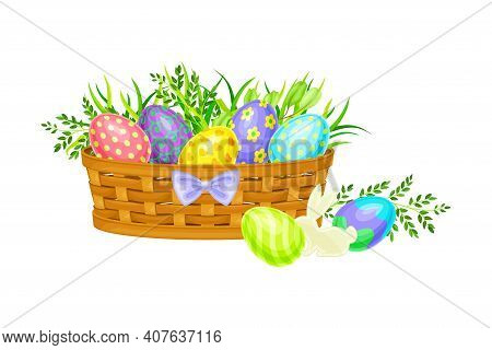 Painted Or Foiled Easter Eggs Or Paschal Eggs Rested In Wicker Basket In Green Grass Vector Illustra