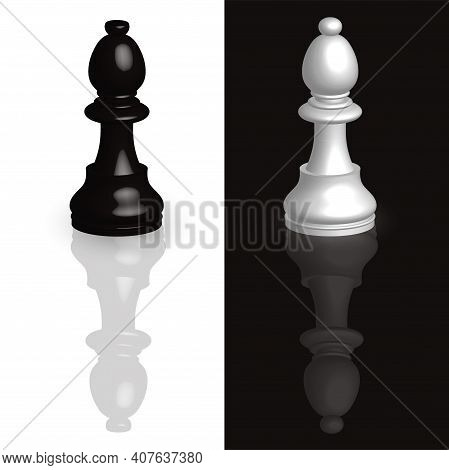 Realistic Chess Pieces 3d Knight On Black And White Background. The Symbol Of Competition, Intellect