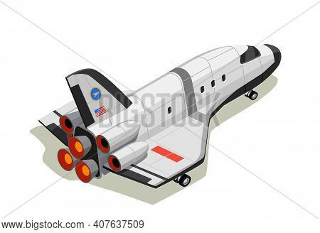 Astronauts Space Planet Exploration Isometric Composition With Isolated Interstellar Space Ship On E