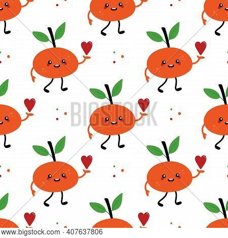 Vector Seamless Pattern Background With Cute Cartoon Smiling Tangerine, Clementine, Mandarin Charact