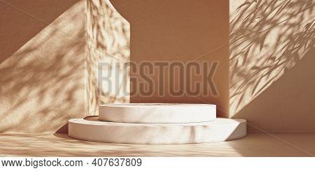 Abstract Minimal Scene With White Stone Podium And Leaf Shadows. Minimal Premium White Marble Podium