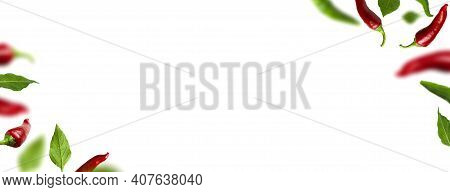 Frame Of Flying Green And Red Chili Pepper, Leaves On White Background. Seasoning For Dish, Fresh Ho