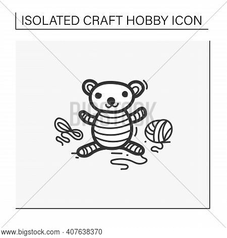 Amigurumi Handmade Hand Draw Icon. Knitting A Perfect Teddy-bear, Using Needle Pins And Wool Clew Ba