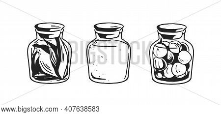 Black And White Potion Jars With Magic Liquids And Substances. Set Of Three Corked Bottles Of Poison