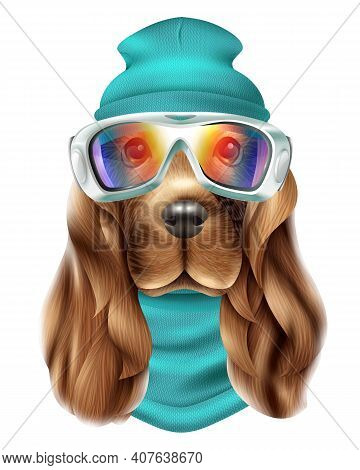 Colored Realistic Spaniel Dog Ski Suit Portrait With Cute Animal And Snowboard Equipment Vector Illu