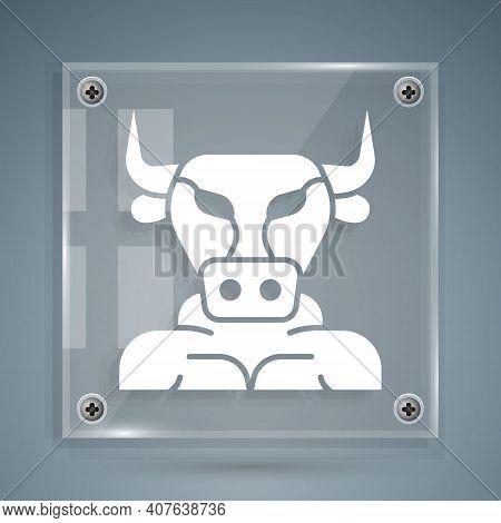 White Minotaur Icon Isolated On Grey Background. Mythical Greek Powerful Creature The Half Human Bul