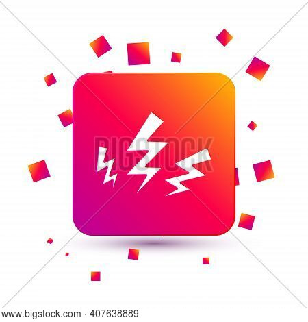White Zeus Icon Isolated On White Background. Greek God. God Of Lightning. Square Color Button. Vect