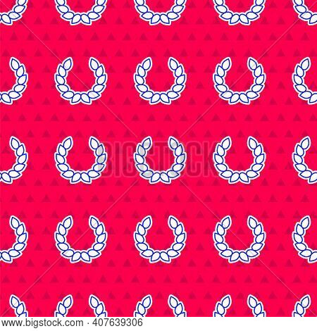 Blue Laurel Wreath Icon Isolated Seamless Pattern On Red Background. Triumph Symbol. Vector