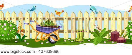 Spring Garden Vector Fence Seamless Border With Birds, Flowers, Bushes, Wheelbarrow, Green Grass, Bo