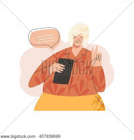 Old Elderly Happy Senior Woman With Smartphone Laptop Device. Silver Generation Surfers, Baby Boomer
