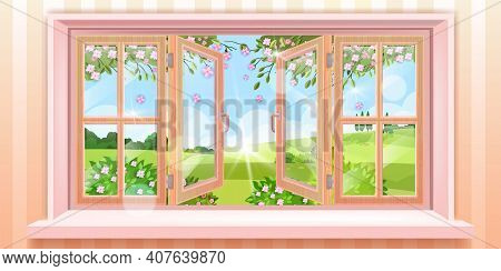 Big Open Home Window Vector Illustration With Nature Spring Outdoor View, Flowers, Branches, Sunligh