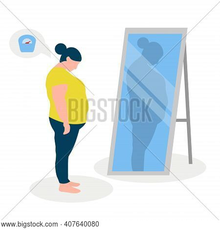 Flat Vector Illustration Of A Fat Girl With Low Self-esteem Standing In Front Of A Mirror. The Girl