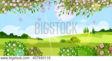 Spring Background, Summer Vector Flower Landscape With Grass, Trees, Meadow, Sakura Blossom, Green B