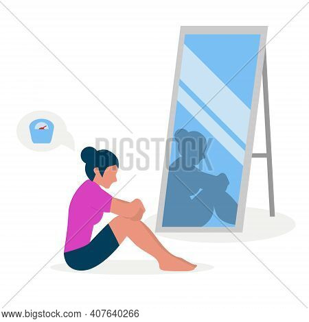 Flat Vector Illustration Of A Skinny Girl With Low Self-esteem Sitting In Front Of A Mirror. The Gir