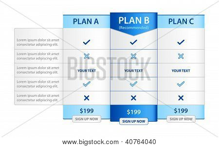 Pricing List With 3 Versions Comparision