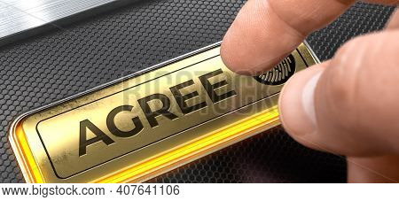 Agree Written On The Golden Key Of Interface Keyboard. Agree - Interface Keyboard With A Gold Key. 3