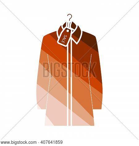Blouse On Hanger With Sale Tag Icon. Flat Color Ladder Design. Vector Illustration.