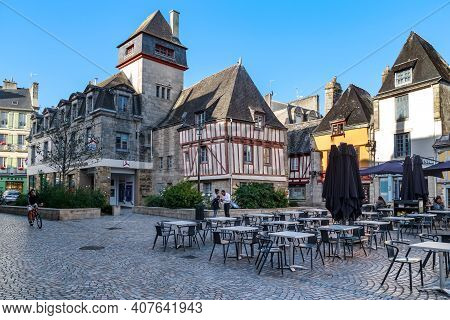 Quimper , France - September 5, 2019: This Is Place Terre Au Duc, With Half-timbered And Stone Medie