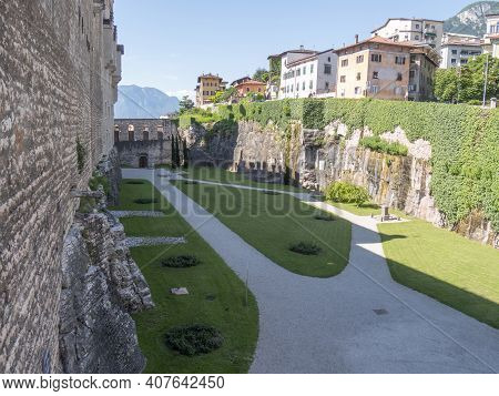 Trento, Italy - June, 1, 2019: Wall And Courtyard At Buonconsiglio Castle Where Cesare Battasti Was