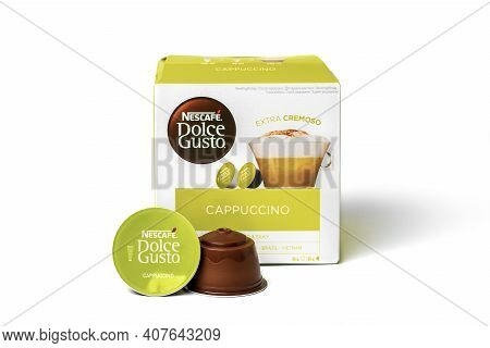 January 2021, Milan, Italy Set Of Nescafe Dolce Gusto Coffee Capsules Isolated On White Background T