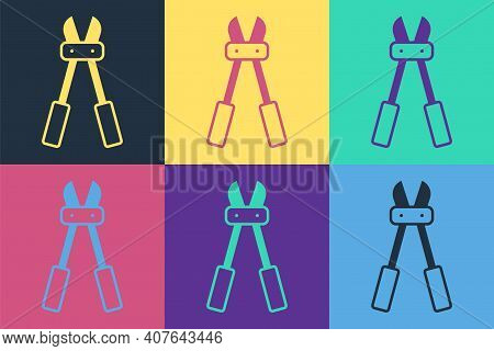 Pop Art Bolt Cutter Icon Isolated On Color Background. Scissors For Reinforcement Bars Tool. Vector
