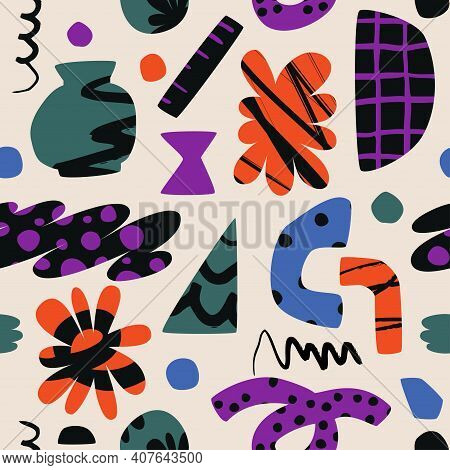 Strange Shapes Colored Seamless Pattern. Bright Modern Textile Or Surface Design. Vector Scalable Fi
