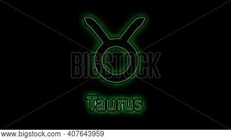 The Taurus Zodiac Symbol, Horoscope Sign Lighting Effect Green Neon Glow. Royalty High-quality Free