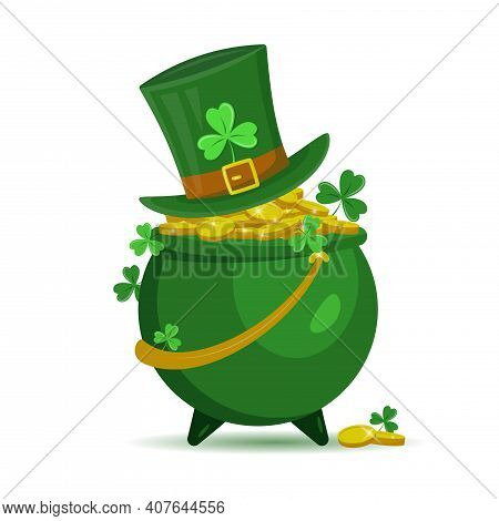 Pot With Gold Coins, Leprechaun Hat And Shamrock Isolated On White Background. St. Patrick's Day Con