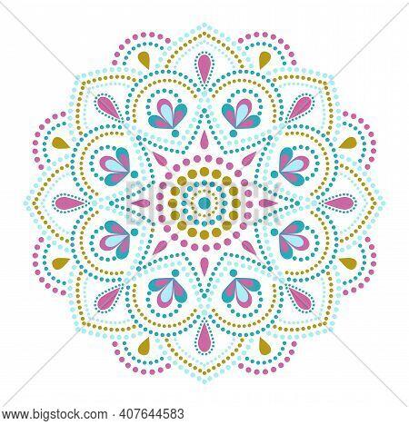 Vector Dot Painting Mandalas. Aboriginal Style Of Dot Painting. Painting Dishes