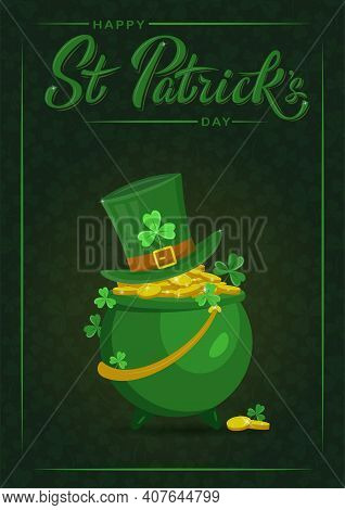 Saint Patrick's Day Party Flyer, Brochure, Holiday Invitation, Corporate Celebration. Pot With Gold