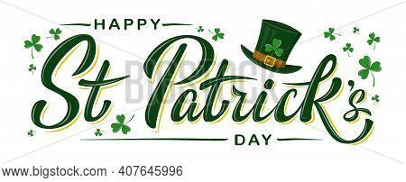 Vector Happy St Patrick's Day Logotype. Hand Sketched Irish Celebration Design With Leprechaun`s Gre