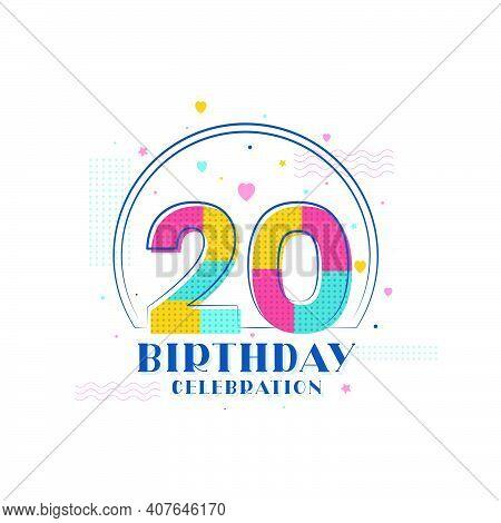 20 Birthday Celebration, Modern 20th Birthday Design Vector Illustration