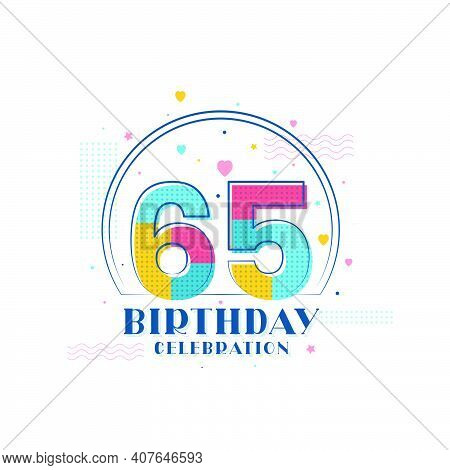65 Birthday Celebration, Modern 65th Birthday Design Vector Illustration