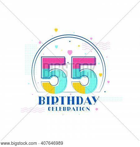 55 Birthday Celebration, Modern 55th Birthday Design Vector Illustration