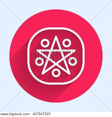 White Line Pentagram In A Circle Icon Isolated With Long Shadow. Magic Occult Star Symbol. Red Circl