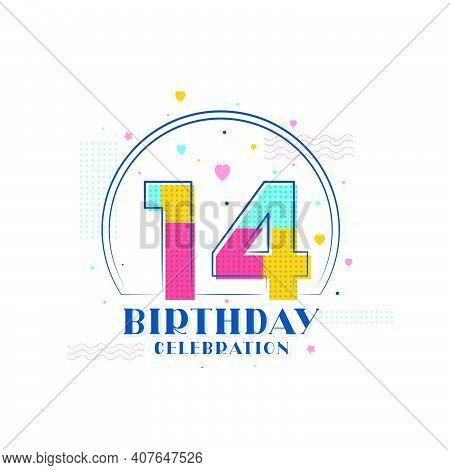 14 Birthday Celebration, Modern 14th Birthday Design Vector Illustration