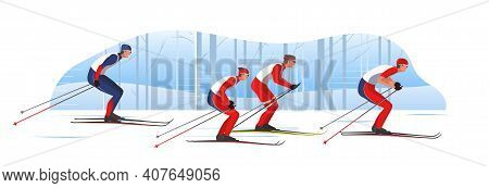 Skiers In Sportswear Are Skiing Classic Style. Athletes Participate In Winter Sports Competition. Th