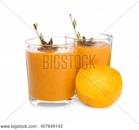 Tasty Persimmon Smoothie With Anise And Fresh Fruit Isolated On White