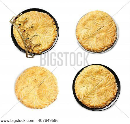 Set Of Traditional Delicious Galettes Des Rois On White Background., Top View
