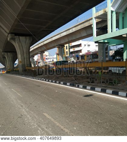Beautiful View Of Tumkur Or Nelamangala 8 Lane Road With Flyover, Metro Pillar And Metro Stop With L