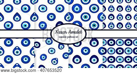 Collection Of Seamless Patterns With Nazar Amulet Symbols Designed For Web, Fabric, Paper And All Pr