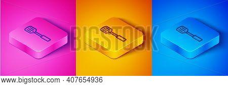 Isometric Line Barbecue Spatula Icon Isolated On Pink And Orange, Blue Background. Kitchen Spatula I
