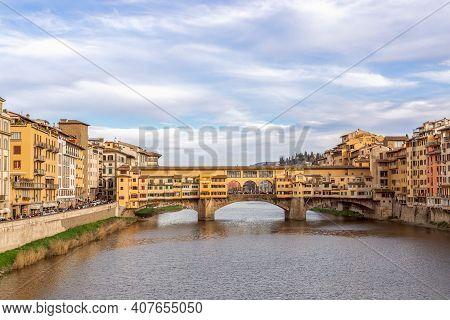 Famous Bridge Ponte Vecchio Over Arno River In Florence, Italy