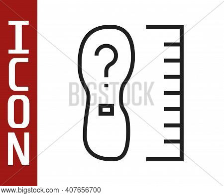 Black Line Square Measure Foot Size Icon Isolated On White Background. Shoe Size, Bare Foot Measurin