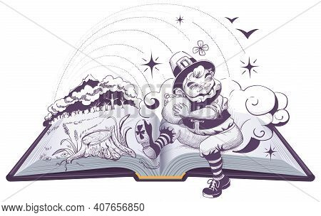 Greedy Patrick Leprechaun Holding Pot Of Gold. Open Book Illustration Drawing. Vector Isolated On Wh