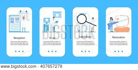 Dental Services Vector Concept For App, Social Stories. Tiny Dentists Make X-ray Scan Of Teeth. Whit