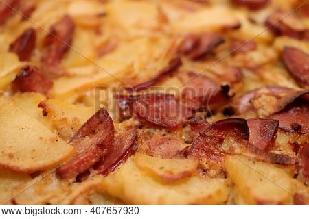 Filling Bbq Texture. Grilled Potatoes Slices With Sausage Slices And Onions. Fried Potato Grill Lunc