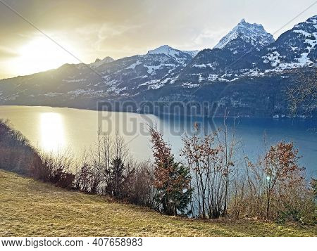 Lake Walen Or Lake Walenstadt (walensee) Between The Mountain Ranges Of Churfirsten And Glarus Alps,