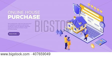 Online Buy House Distance Technology Sale Purchase House Rent, Mortgage Home Landing Page Advertisin